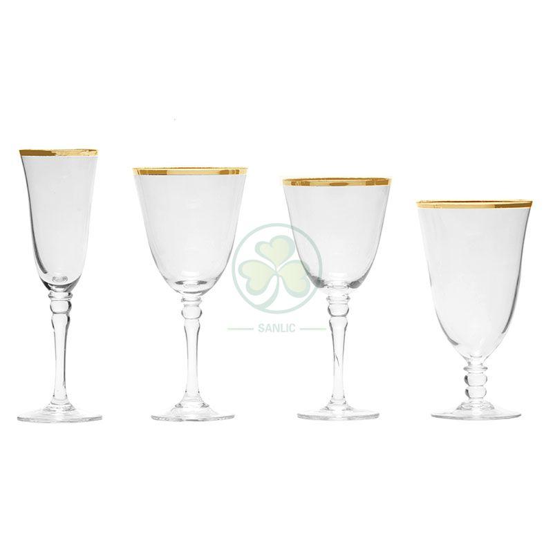 Hot Sale Decorated Wedding Champagne Flutes Party Restaurant Gold Rim Wine Vintage Glassware Set SL-CD2205LFWG