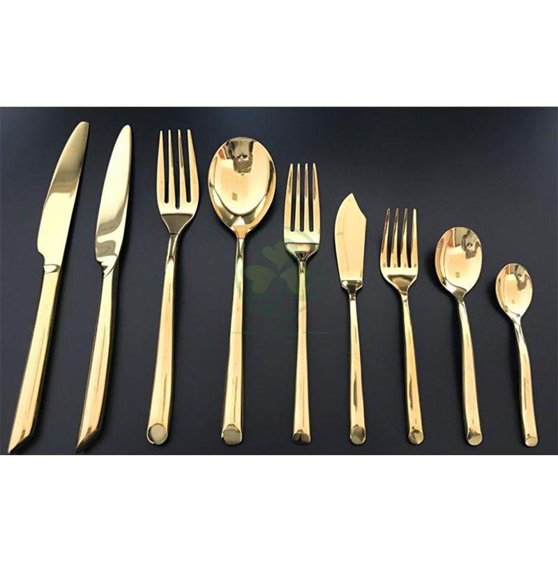 Royal Gold Plated Stainless Steel Knife Spoon Fork Hotel Restaurant Wedding Dinner Cutlery Set SL-CD2209GSSC