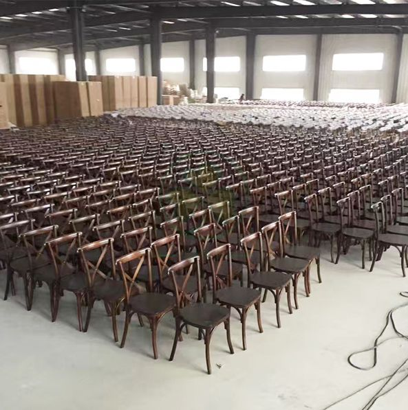 Popular Dark Wood X Back Chair with Rattan Seat for Event Rental