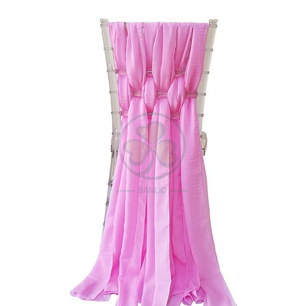 Wholesale Fancy Ruffled Chiffon Chair Covers with Curly Willow Sash for Wedding Decoration  SL-F1969CCWS