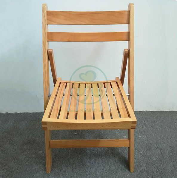 Popular Natural Wooden Slatted Folding Chair for Indoor or Outdoor Banquets Reunions or Parties SL-W1871WSFC