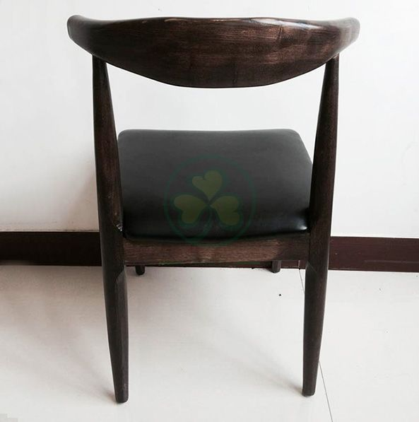 Modern Style Wooden Elbow Cow Horn President Dining Chair with PU Seat SL-W1938WCHC