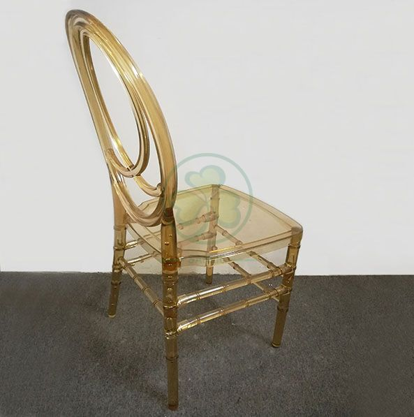 Morden Elegant Transparent Resin Phoenix Chair with Fish-Shaped Back for Weddings and Events   SL-R2015BPFC