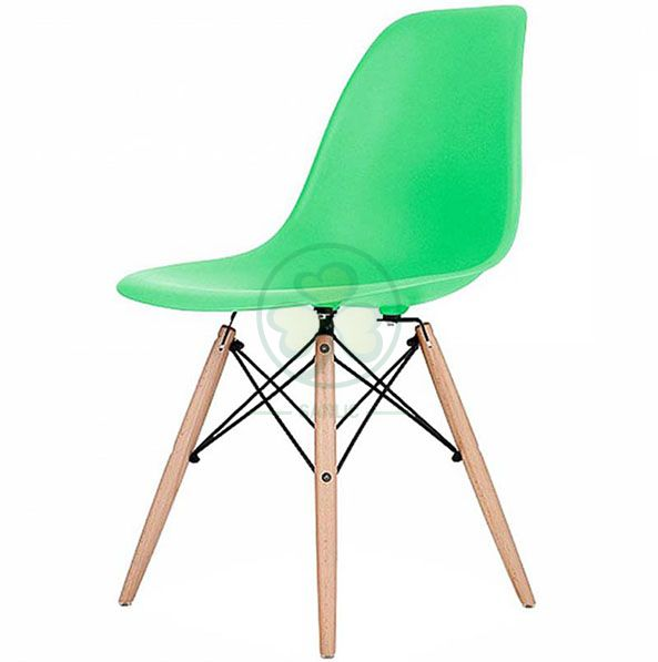 Wholesale Stackable Modern Design Eames Molded Plastic Side Chair with Wooden Crossed Leg SL-R2080EMPC