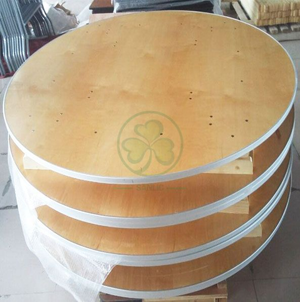 Customized Modern Dining Furniture Round Wooden Folding Tables by Solid Birch Wood with AL Edge  SL-T2087CWRT