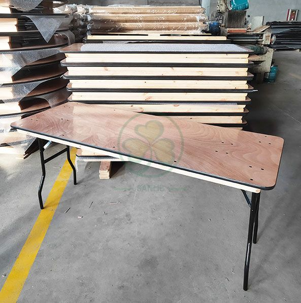 Hot Sale Wood Folding Rectangular Table for Weddings and Events Celebrations with PVC Edge SL-T2093WRFT