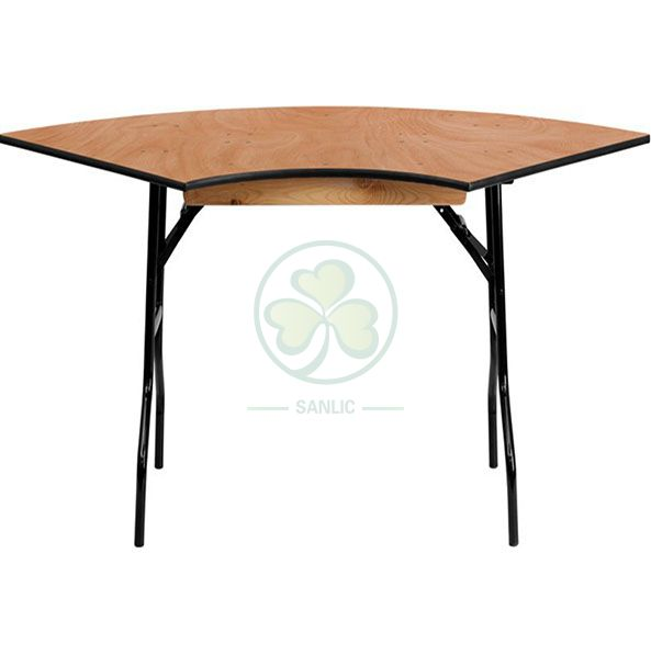 Wholesale Wooden Serpentine Folding Table for Dining Halls and Catering Services SL-T2096WSPT