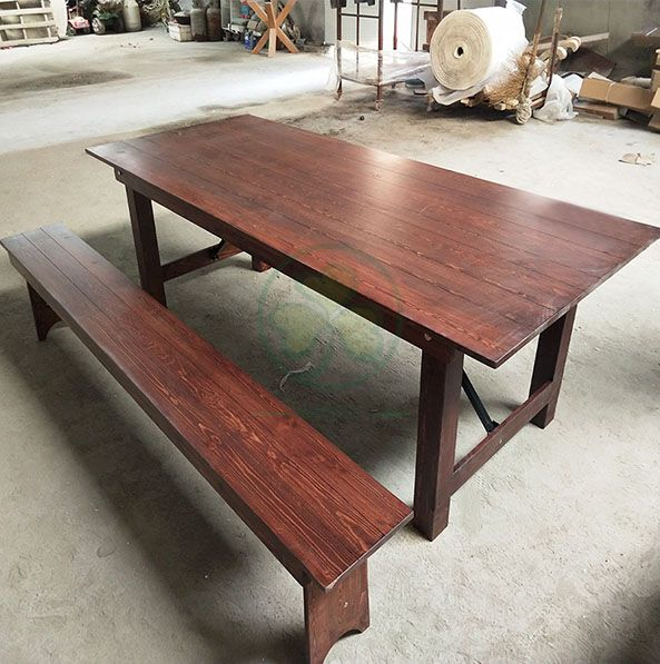 Wholesale Solid Pine Wood Farm Table Rustic Farmhouse Dining Table SL-T2101WFHT