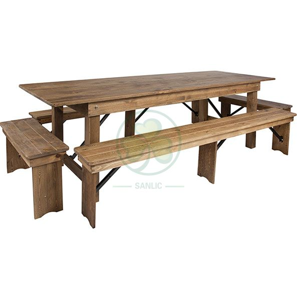 Factory Direct White Vintage Farm Tables with Benches for Outdoor Courtyard Dining Party  SL-T2102WVFT