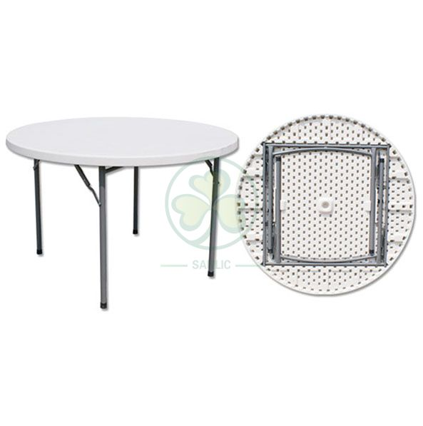 Wholesale EN581 4ft Plastic Round Folding Dining Table for Weddings and Banquets  SL-T2153PRDT
