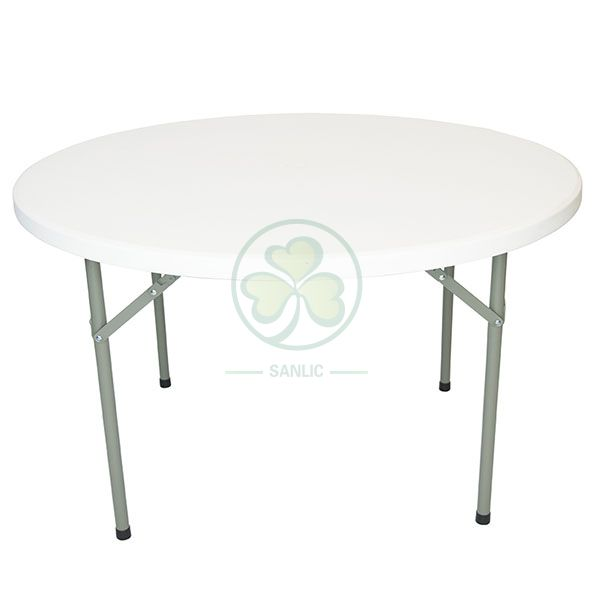 Factory Direct 43inches HDPE White Plastic Round Folding Dining Table for Indoor and Outdoor Events and Banquets  SL-T2159
