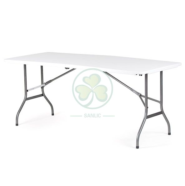 6ft Plastic Rectangular Fold-In-Half Dining Table with Lock T3.5  SL-T2161RFHT