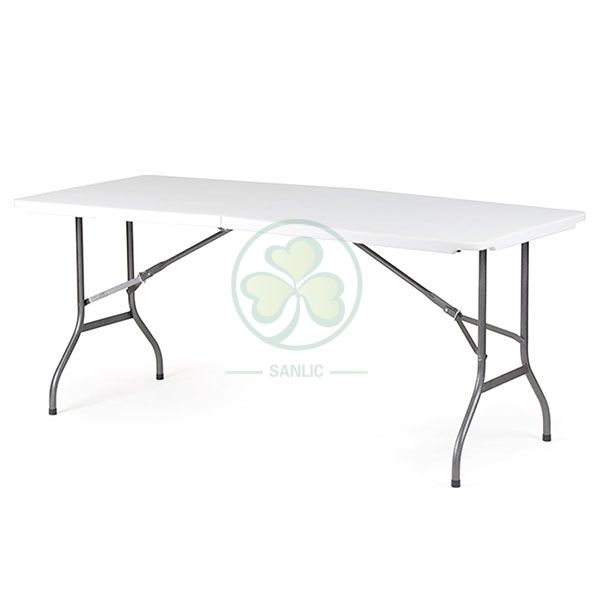Factory Direct 6ft Plastic Rectangular Fold-In-Half Table T4.0 SL-T2162FIHT