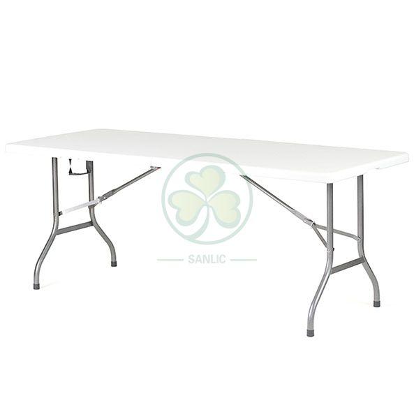 Hot Selling 6ft Plastic Rectangular Fold-In-Half Banquet Table T4.5 SL-T2165RFIH