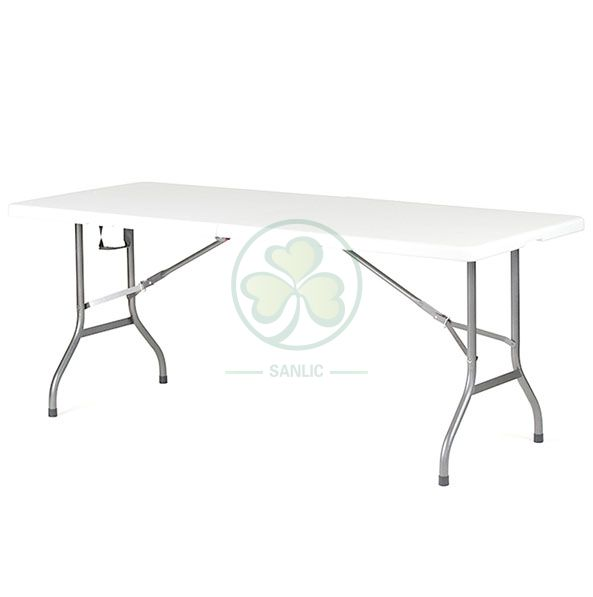 White 6ft Rectangular Fold-In-Half Table with Lock T4.5 SL-T2166RFHT