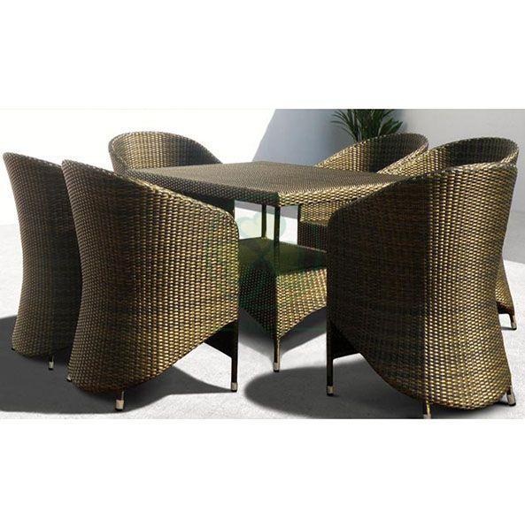 Factory Wholesale Garden Patio Furniture Restaurant Furniture Rattan Square Table Dining Set SL-WR2185RGPF