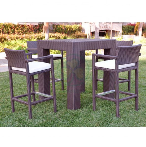 Factory Wholesale All Weather High Quality Outdoor Furniture Rattan Bar Set and Restaurant Table and Chairs Set SL-WR2188